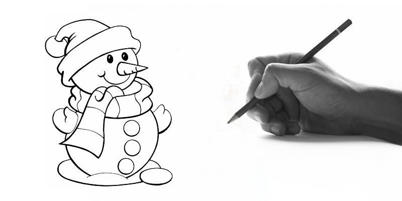 Impara a disegnare un pupazzo di neve